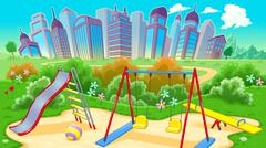 View on the playground with city - stock illustration