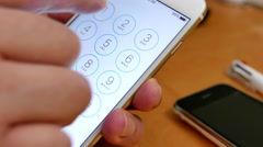 Close up hand making a phone call on iphone Stock Footage