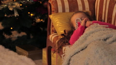 Girl Dreaming about Christmas Gifts Stock Footage
