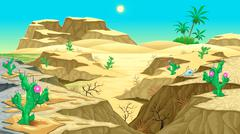 View on the desert - stock illustration