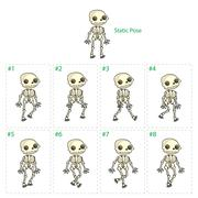 Animation of skeleton walking - stock illustration