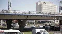 Urban traffic. Road and Bridge. Fast Playback - stock footage