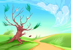 Romantic landscape with tree Stock Illustration