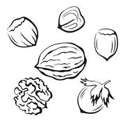 Nuts Black Pictograms - stock illustration