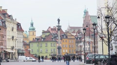 Castle Square in Warsaw, Poland - stock footage