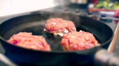 Burger Meat Frying Stock Footage