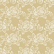 Seamless, Flowers Rose Contours Stock Illustration