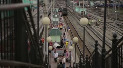 Railroad station. Many people. View from top. - stock footage