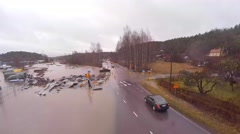 Water flooded over the road, Skandinavia 4K Stock Footage