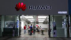 Store Huawei at the Wangfujing street in center of Beijing Stock Footage