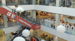 Interior of modern shopping center Komsomall Stock Footage