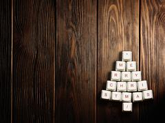 Christmas tree made of computer keys,tree background with vignette Stock Photos