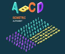 Isometric Design Style Alphabet - stock illustration