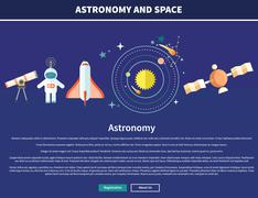 Astronomy and Space Web Page Design - stock illustration