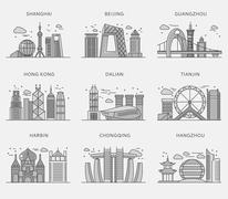 Icons Chinese Major Cities Flat Style Stock Illustration
