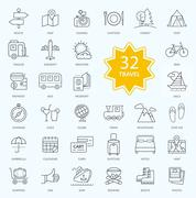 Set of Travel Icon Linear Design - stock illustration