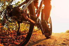Mountain Bike cyclist riding single track outdoor Stock Photos