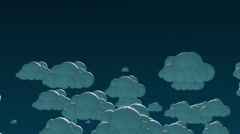 Cartoon flying clouds in the night sky. 3d animation with alpha-matte channel Stock Footage