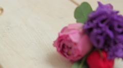 Wedding rings and buttonhole. Stock Footage