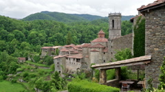 View of old catalan village. - stock footage