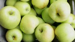Fresh Mutsu apples (also known as Crispin apples) at market Stock Footage