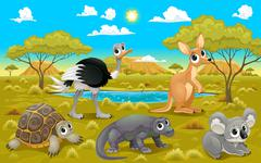Australian animals in a natural landscape Stock Illustration