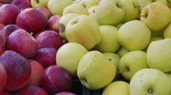 Fresh Golden Delicious apples at market Stock Footage