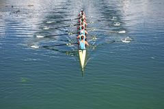 Eight Rowers training rowing Stock Photos