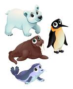 Funny polar animals Stock Illustration