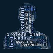 Professional word cloud shaped as a person - stock illustration