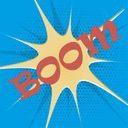 Boom explosion text description in the style of comics, pop, art, retro - stock illustration