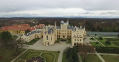 Aerial view of Lednice Castle in Czech Republic Stock Footage