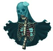 Skeleton with veil and white roses - stock illustration