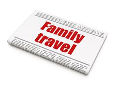 Vacation concept: newspaper headline Family Travel Stock Illustration
