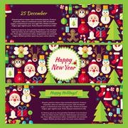 Happy New Year Winter Vector Template Banners Flat Set - stock illustration