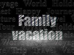 Tourism concept: Family Vacation in grunge dark room Stock Illustration