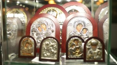 Market jewels - gold religious icons - stock footage