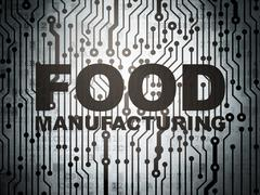 Manufacuring concept: circuit board with Food Manufacturing - stock illustration