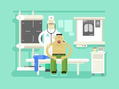 Patient and doctor character - stock illustration