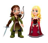 Medieval Couple: Knight and Princess - stock illustration