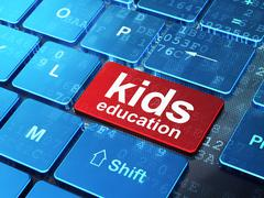 Education concept: Kids Education on computer keyboard background Stock Illustration