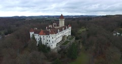 Aerial view of Konopiste Castle Stock Footage