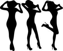 Silhouette fashion slim girls. - stock illustration