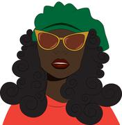 Girl in sunglasses and beret. - stock illustration