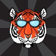 Line Art Tiger - stock illustration