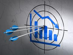 Marketing concept: arrows in Decline Graph target on wall background Stock Illustration