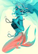 Portrait of a mermaid - stock illustration