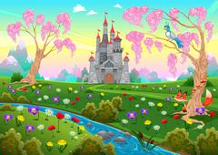 Fairytale scenery with castle - stock illustration