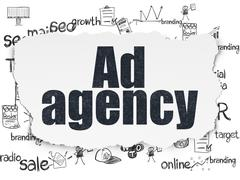Stock Illustration of Marketing concept: Ad Agency on Torn Paper background
