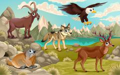Funny animals in a mountain landscape Stock Illustration